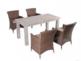 Strandgut07 5tlg. Essgruppe Sitzgruppe 160 x 80 cm Teakholz grau finish hochwertiges Polyrattan Sessel Sitzgruppe Teaktisch Gartenmöbel braun -