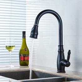 Timaco 8676O Klassisch-Modern ein Loch Einhand-Küchenarmatur Waschtischarmatur Armatur mit Ausziehbarer Brause schwarz Messing oil rubbed bronze auch Schwenkbar Deck montierte Wasserhahn -
