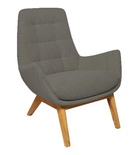 Dena sessel aus stoff grau meliert f e aus eichenholz for Sessel grau stoff