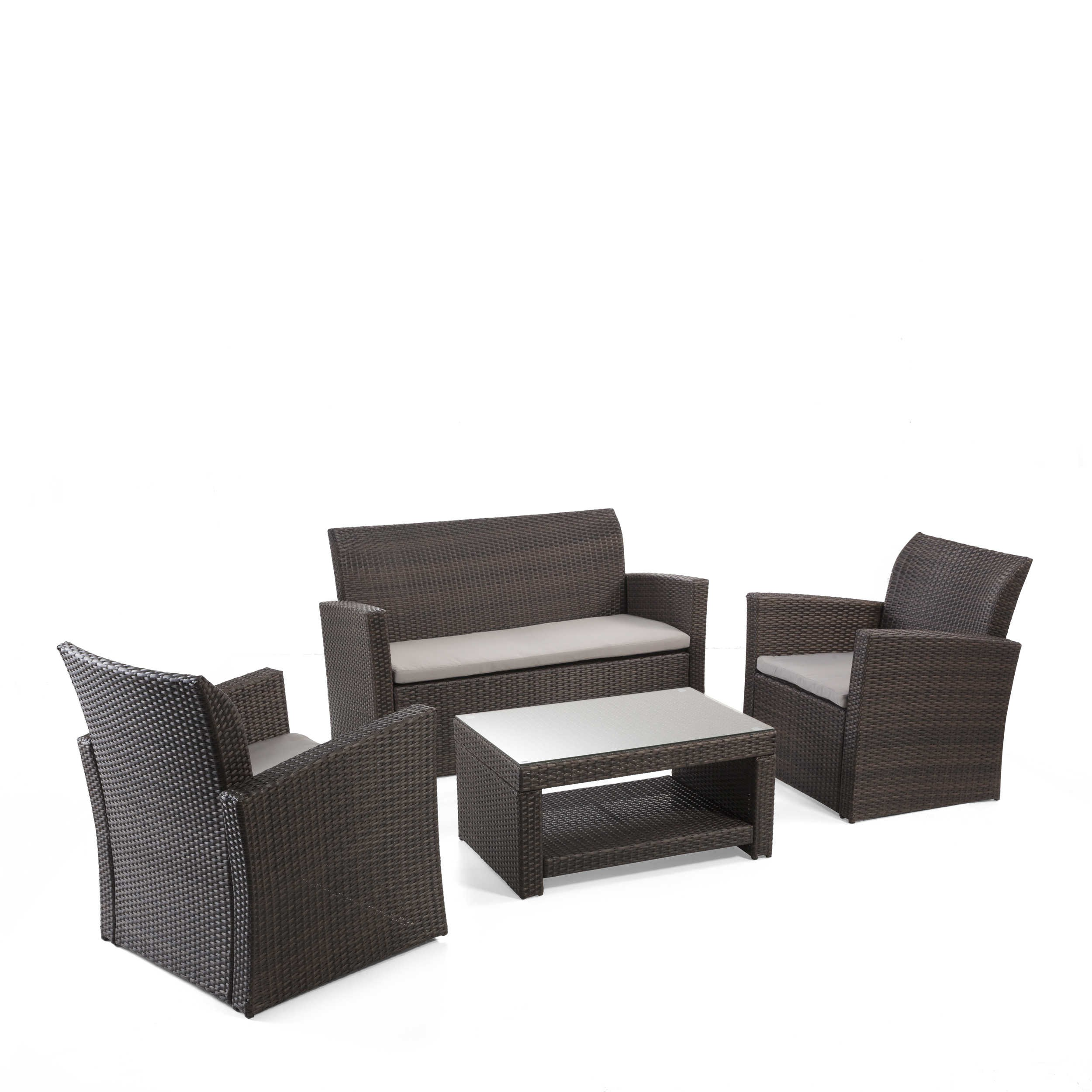 loungem bel set cannes 4tlg polyrattan defactodeal. Black Bedroom Furniture Sets. Home Design Ideas