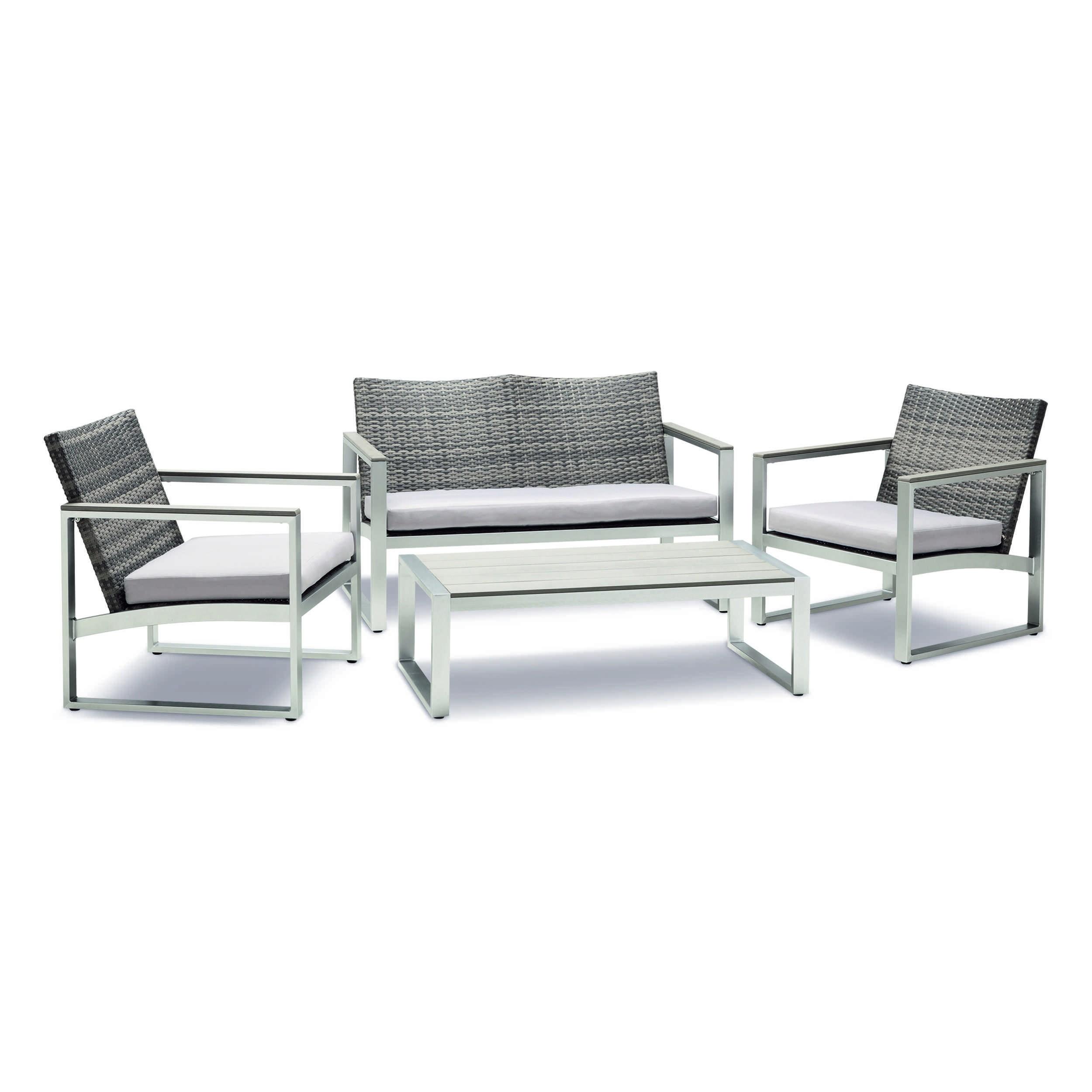 loungem bel set colon 4tlg aluminium defactodeal. Black Bedroom Furniture Sets. Home Design Ideas